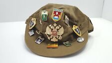 RUSSIAN SOVIET MILITARY HAT WITH PINS AND PATCHES.