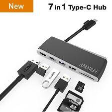 Anewish USB-C Hub USB Type-C Hub Alimentation Électrique Chargeur Adaptateur 7 en 1 4K Mac