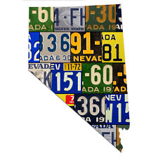 Vintage Style Nevada License Plate Map Sign, The Silver State Garage Wall Art