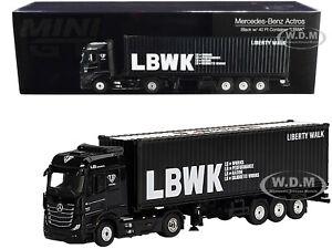 MERCEDES ACTROS RHD & TRAILER & 40' CONTAINER LBWK BLACK 1/64 MODEL TSM MGT00215