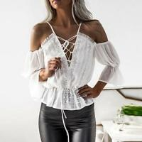 Women Short Sleeve Off Shoulder V Neck Lace Chiffon Blouse Casual Tops T-Shirt