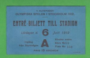 1912 Olympics Stockholm ticket July 6th Opening Ceremony - RARE! L@@K!!
