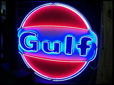 """Old Gulf Dealer (wings) Porcelain Sign with Neon 72"""" Diameter - SSPN"""