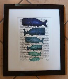 Blue Whale Family Framed Book Print Signed Fab Funky