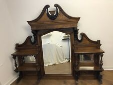 Antique Walnut Wood Chiffonier Over Mantle Mirror Large Fireplace Surround