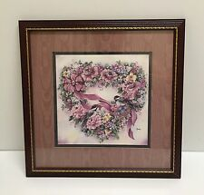 ❤SHABBY COTTAGE CHIC PINK VINTAGE HOMCO HOME INTERIORS HEART BIRD PICTURE FRAME❤