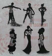 Die Cut Tattered Lace Art Deco Charisma Ladies Card Toppers Set of 6 Black