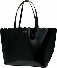 Kate Spade Lily Avenue Small Carrigan Patent Black Leather Scallop Tote Wkru5265