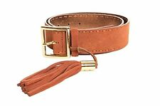 MICHAEL Michael Kors Women's Leather Stitched Suede Belt with Tassel 554542, L