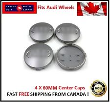 Fits Audi Wheels CENTER WHEELS RIMS HUBS CAPS 60MM BLACK Silver Circle Univesal