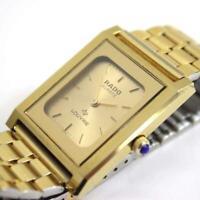 Authentic RADO Watch LOUVRE Men's Quartz Color Gold Battery Replaced