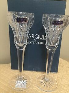 """Waterford Marquis Crystal Canterbury 8.5"""" Candlesticks / Set Of Two / New-in-Box"""