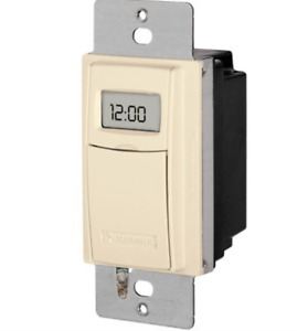 ST01A 7 Day Programmable In Wall Digital Timer Switch For Lights  Almond