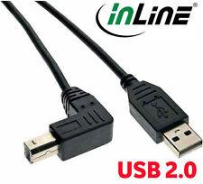 InLine cavo USB 2.0, A su B sotto angolato, nero, 2m