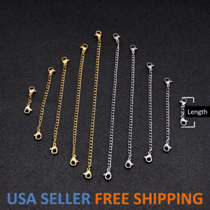 """Stainless Steel Necklace Bracelet Extension Extender Chain Jewelry 3"""" or 6"""""""