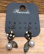 Pretty Gold Tone Flower & Pearl Bead Earrings/Pierced/Droplet/Dainty/Boho/New!
