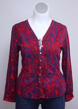 NWT $248 Robert Graham XL Red Blue Cotton Button Down Shirt Top Blouse Paisley
