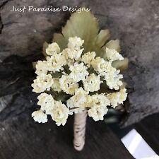 Silk Flower Wedding Button Hole Set - Babies Breath Cream Vintage Look x 3