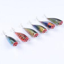 6pcs Topwater 6cm/7g Mini Popper Fishing Lures Bass Tackle Plastic Poper Bait