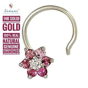 Diwani Natural Pink Tourmaline & Diamond Flower Nose Piercing Pin Ring Stud 14k