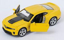 BLITZ VERSAND Chevrolet Camaro ZL1 gelb yellow Welly Modell Auto 1:34 NEU & OVP