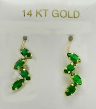 EMERALD 1.12 Cts DANGLING EARRINGS 14K YELLOW GOLD *** New With Tag***