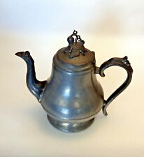 """Antique Pewter Coffee Pot / 8"""" / Grape Leaf Finial / Unmarked R. Dunham ?"""