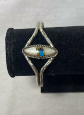 Vintage Sterling Silver Native American Bracelet Turquoise Mother Of Pearl