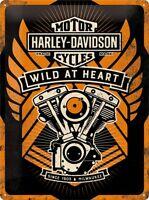 Harley Davidson Wild at Heart Blechschild Schild 3D geprägt Tin Sign 30 x 40 cm