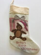 Baby's First Christmas Needlepoint Stocking By North Pole Trading Co Girls 1st