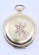 Custode boite à hostie en argent massif et demi-perles croix de Malte  XIXeme