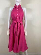 NWT Ralph Lauren Linen Pink Halter Button Up Belted Women Dress Size 8
