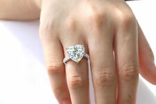 Diamond Engagement Proposal Ring 925 Silver 5.80 Ct Solitaire White Heart Shaped
