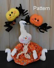 PATTERN Halloween Ghost Cloth Doll Spider Primitive Raggedy Holiday Folk Art #78