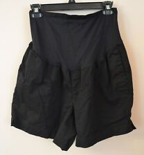 """Old Navy Maternity 12 Black Cotton Stretch Shorts 5"""" Inseam Belly Panel"""