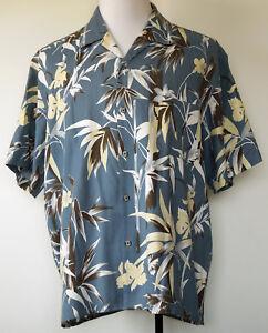 Bambu You Blue Floral Bamboo Print Button-Front Hawaiian Camp S/S Shirt XL