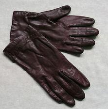 Guanti in pelle da donna vintage bordeaux seta foderato anni 1970 anni 1980 Retrò Grande 7.5