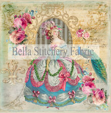 Marie Antoinette with Peacock - 8x8 Fabric Block - Buy 2, Get 3rd FREE!