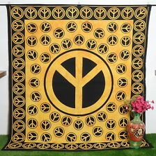 New Queen Size Mandala Tapestry Printed Bedsheet Wall hanging Orange Wall Decor