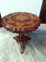 """Cute Round Table w Inlaid Brass Work Carved 18"""" Coffee Round Table Foldable Home"""