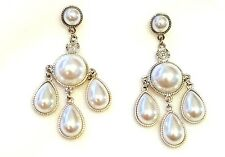 Round Pearl Teardrop Silver Chandelier Earring Stud Holiday Evening Bridal