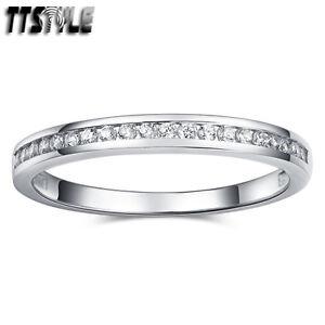 TTstyle RHODIUM 925 Sterling Silver 1.5mm Inlaid Sparkling CZ Wedding Band Ring
