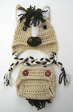 CROCHET BABY HORSE HAT DIAPER COVER SET knit infant toddler  beanie photo prop