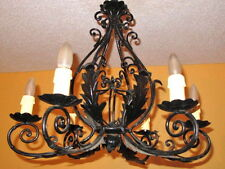 Light fixture chandelier cast iron French Provincial circa 1950 Restored