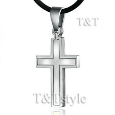 T&T 316L Stainless Steel Cross Pendant Necklace Silver CP92