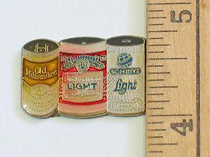 Old Milwaukee, Budweiser Light, Schlitz 3 Can Beer Pin