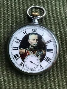 Vintage Antique MOVADO Serbian King Peter I Portrait Pocket Watch