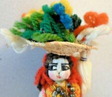 Vintage Portugal Wool Colorful Handmade Woman Girl Viana Souvenir Doll Set of 2