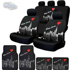 NEW BLACK FABRIC NEW YORK SKYLINE FRONT REAR SEAT COVER MATS SET FOR MAZDA