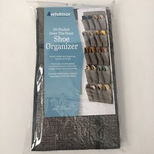SHOE ORGANIZER Over The Door GRAY WHITMOR 20-pocket  (10 pairs of shoes)